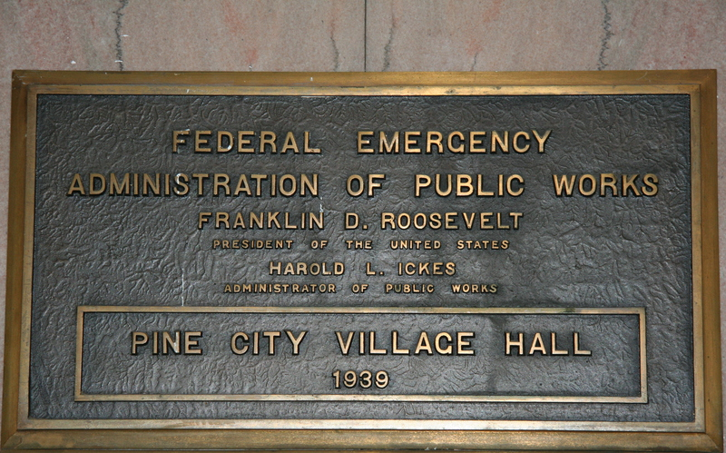 A sign dedicating the Pine Valley City Hall construction to the PWA in 1939